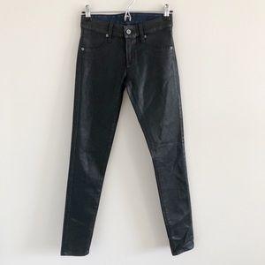 NWT LF Carmar Black Coated Wax Skinny Jeans 26